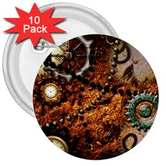 Steampunk In Noble Design 3  Buttons (10 pack)  by FantasyWorld7