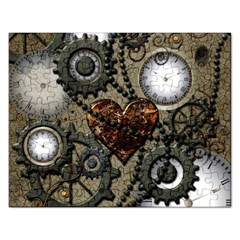 Steampunk With Clocks And Gears And Heart Rectangular Jigsaw Puzzl