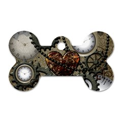 Steampunk With Clocks And Gears And Heart Dog Tag Bone (Two Sides) by FantasyWorld7