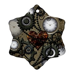 Steampunk With Clocks And Gears And Heart Snowflake Ornament (2 Side) by FantasyWorld7