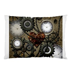 Steampunk With Clocks And Gears And Heart Pillow Cases (two Sides)