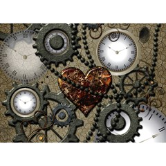 Steampunk With Clocks And Gears And Heart Birthday Cake 3d Greeting Card (7x5)