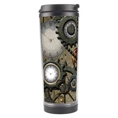 Steampunk With Clocks And Gears And Heart Travel Tumblers by FantasyWorld7