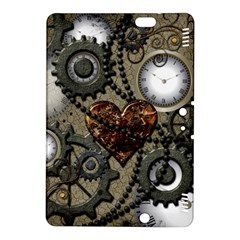 Steampunk With Clocks And Gears And Heart Kindle Fire HDX 8.9  Hardshell Case by FantasyWorld7