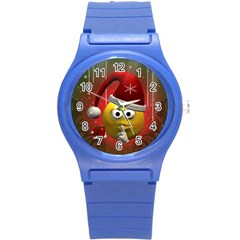 Funny Christmas Smiley Round Plastic Sport Watch (s) by FantasyWorld7