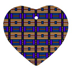 Rectangles And Stripes Pattern Ornament (heart) by LalyLauraFLM