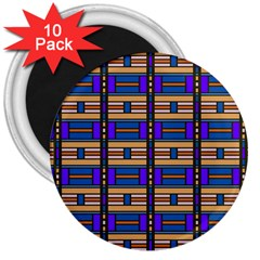 Rectangles And Stripes Pattern 3  Magnet (10 Pack) by LalyLauraFLM