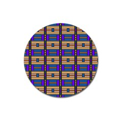 Rectangles And Stripes Pattern Magnet 3  (round) by LalyLauraFLM