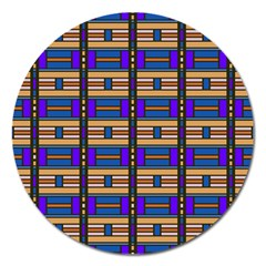 Rectangles And Stripes Pattern Magnet 5  (round) by LalyLauraFLM