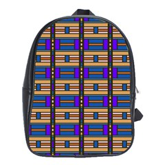 Rectangles And Stripes Pattern School Bag (xl) by LalyLauraFLM