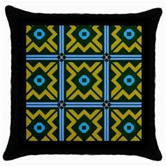 Rhombus In Squares Pattern Throw Pillow Case (black) by LalyLauraFLM