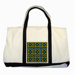 Rhombus In Squares Pattern Two Tone Tote Bag by LalyLauraFLM