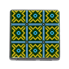 Rhombus In Squares Pattern Memory Card Reader (square) by LalyLauraFLM