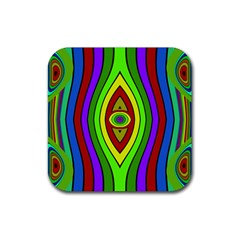 Colorful Symmetric Shapes Rubber Square Coaster (4 Pack) by LalyLauraFLM