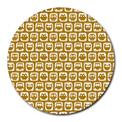 Olive And White Owl Pattern Round Mousepads by creativemom