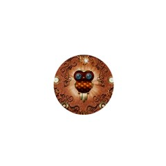 Steampunk, Funny Owl With Clicks And Gears 1  Mini Magnets by FantasyWorld7