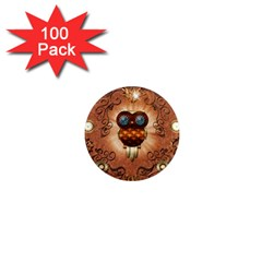 Steampunk, Funny Owl With Clicks And Gears 1  Mini Magnets (100 Pack)  by FantasyWorld7