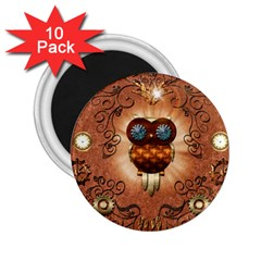 Steampunk, Funny Owl With Clicks And Gears 2 25  Magnets (10 Pack)  by FantasyWorld7