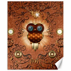 Steampunk, Funny Owl With Clicks And Gears Canvas 16  X 20   by FantasyWorld7