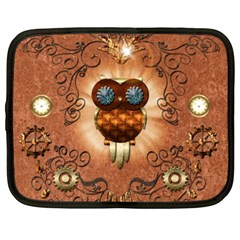 Steampunk, Funny Owl With Clicks And Gears Netbook Case (XXL)  by FantasyWorld7