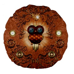 Steampunk, Funny Owl With Clicks And Gears Large 18  Premium Flano Round Cushions by FantasyWorld7