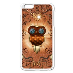 Steampunk, Funny Owl With Clicks And Gears Apple Iphone 6 Plus Enamel White Case by FantasyWorld7