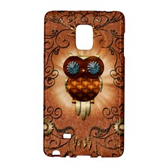 Steampunk, Funny Owl With Clicks And Gears Galaxy Note Edge by FantasyWorld7