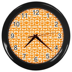 Yellow And White Owl Pattern Wall Clocks (black) by creativemom