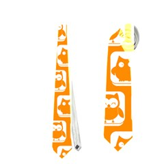 Yellow And White Owl Pattern Neckties (two Side)