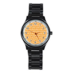 Yellow And White Owl Pattern Stainless Steel Round Watches by creativemom