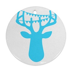 Party Deer With Bunting Round Ornament (two Sides)  by CraftyLittleNodes
