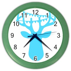 Party Deer With Bunting Color Wall Clocks by CraftyLittleNodes