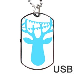 Party Deer With Bunting Dog Tag Usb Flash (two Sides)