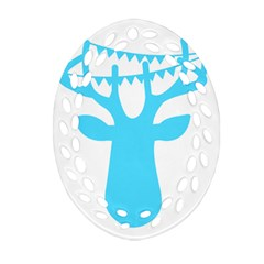 Party Deer With Bunting Ornament (oval Filigree)  by CraftyLittleNodes