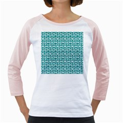 Teal And White Owl Pattern Girly Raglans by creativemom