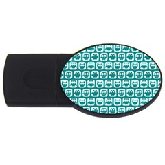 Teal And White Owl Pattern Usb Flash Drive Oval (4 Gb)  by creativemom
