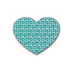Teal And White Owl Pattern Heart Coaster (4 Pack)  by creativemom