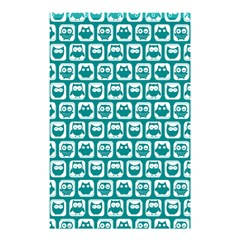 Teal And White Owl Pattern Shower Curtain 48  X 72  (small)  by creativemom
