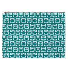Teal And White Owl Pattern Cosmetic Bag (xxl)  by creativemom