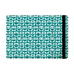 Teal And White Owl Pattern iPad Mini 2 Flip Cases by creativemom