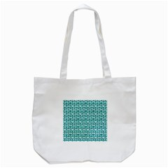 Teal And White Owl Pattern Tote Bag (white)  by creativemom
