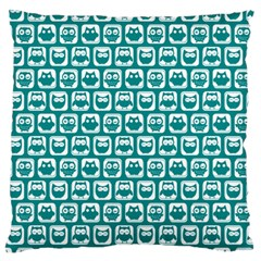 Teal And White Owl Pattern Large Flano Cushion Cases (One Side)  by creativemom