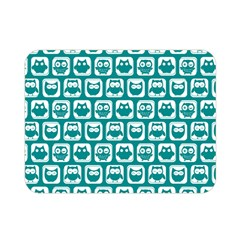 Teal And White Owl Pattern Double Sided Flano Blanket (mini)