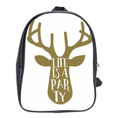 Life Is A Party Buck Deer School Bags(large)  by CraftyLittleNodes