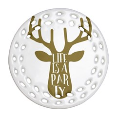 Life Is A Party Buck Deer Round Filigree Ornament (2side) by CraftyLittleNodes
