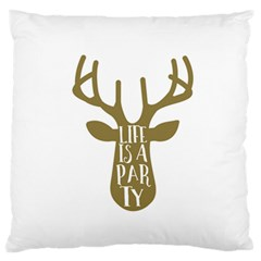 Life Is A Party Buck Deer Standard Flano Cushion Cases (one Side)  by CraftyLittleNodes