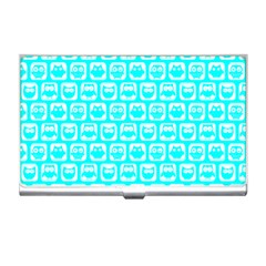Aqua Turquoise And White Owl Pattern Business Card Holders by creativemom