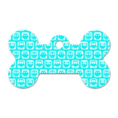 Aqua Turquoise And White Owl Pattern Dog Tag Bone (One Side) by creativemom