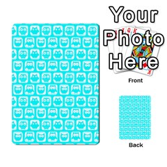 Aqua Turquoise And White Owl Pattern Multi Purpose Cards (rectangle)