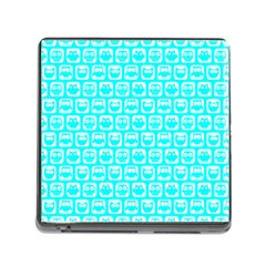 Aqua Turquoise And White Owl Pattern Memory Card Reader (square) by creativemom